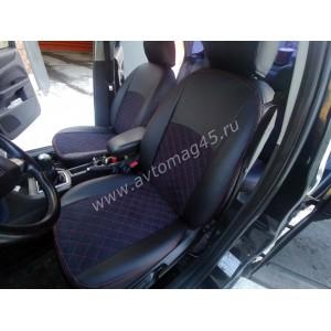 Авточехлы  Ford Focus 2 экокожа алькантара черный ромб