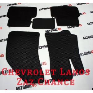 EVA ЭВА  коврики в салон Chevrolet Lanos черный рисунок ромб комплект 4шт
