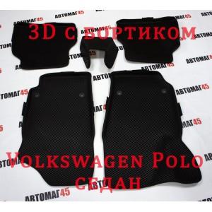 EVA ЭВА 3D коврики в салон Volkswagen Polo 2009-2020г седан черные рисунок ромб комплект 4шт