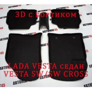 EVА ЭВА 3D коврики в салон LADA Vesta Веста черные рисунок ромб комплект 4шт