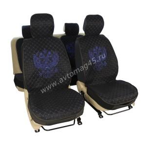 Чехлы  накидки на сиденье серия G лен черный синяя нитка комплект 5 шт
