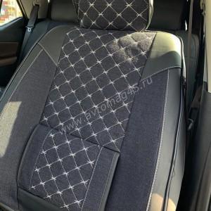 Чехлы  накидки на сиденье лен форма 2Д черный/белый с поддержками комплект 5шт