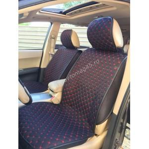 Чехлы накидки на сиденье лен 2Д черный красная нитка спинка ткань комплект 5шт