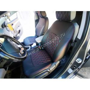Авточехлы Hyundai Elantra VI поколение с 2015г экокожа черная ромб