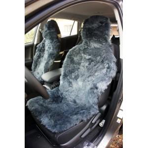 Накидки на сиденье длинный ворс темно-серый 140x50см 2шт