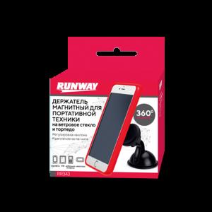 Runway Держатель телефона и планшета на лобовое стекло и панель магнитный черный