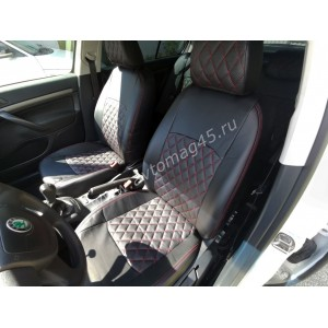 Авточехлы Skoda Octavia Toor 2000-2008г Volkswagen Golf4 экокожа черный ромб