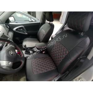 Авточехлы Toyota RAV4 2000-2006г Chery Tiggo до 2012г экокожа черный ромб