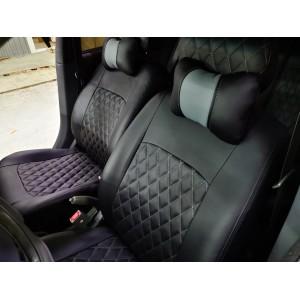 Авточехлы Hyundai Accent экокожа черная ромб