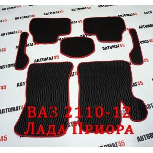 EVA коврики в салон Лада Приора ВАЗ 2110 черные красный кант рисунок ромб комплект 4шт