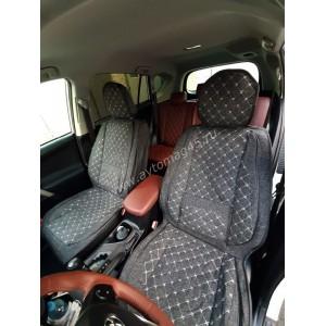Чехлы накидки на сиденье лен форма 2Д серый передние 2шт