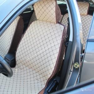 Чехлы накидки на сиденье лен 3Д бежевый / коричневый комплект 5шт